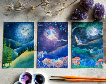Three Magical Landscape Watercolor prints postcard size mountains moonlight small art