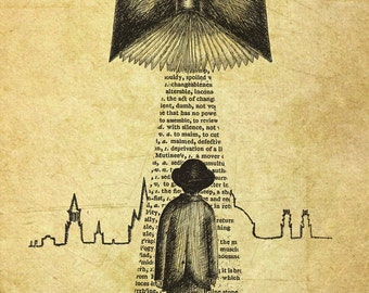 Take Me To Your Reader- A4 art print by Jon Turner- surreal literary pen and ink artwork- FREE WORLDWIDE SHIPPING