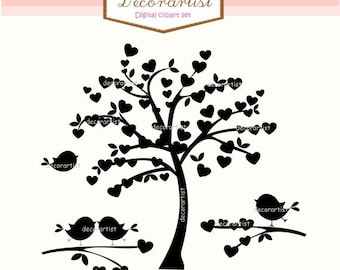 ON SALE Tree silhouette clip art, Heart tree and birds,silhouette heart tree clip art, INSTANT Download