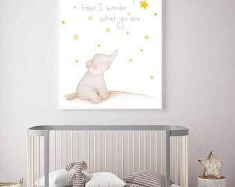 Elephant Nursery Art,Elephant decor,Twinkle Nursery,Star Nursery Art,Star Nursery decor,Elephant baby Room,Elephant Children,Elephant Art