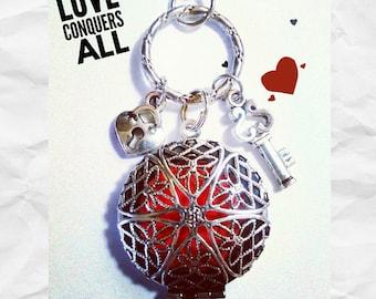 Aromatherapy Heart Lock/Key  Diffuser Locket Necklace,Essential Oil Diffuser Necklace, Aromatherapy Necklace, Diffuser Locket Necklace