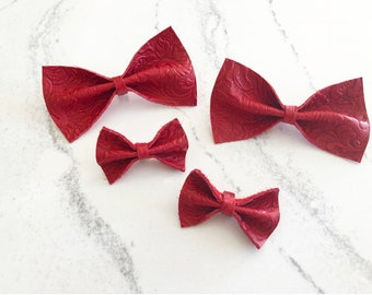 Isabella | Leather Bow | Leather Bow Tie | Bow Tie | Clip on Bow tie | Leather Bow Headband | Leather Bow Clip | Red Leather Bow | Red Bow |