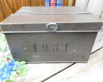 Vintage French Metal Deed Box
