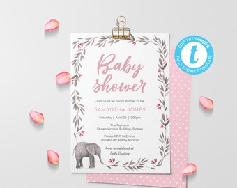 Girl Baby shower invitation, baby elephant Invitation, instant download, printable invitation, babyshower girl, invitation template