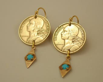 France Coin Jewelry Earrings 1963