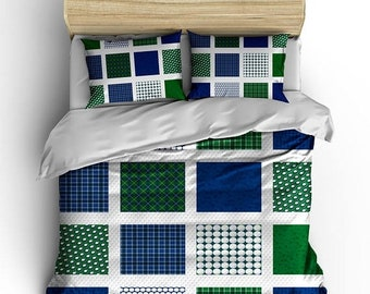 Memorial On Sale Personalized Custom Bedding Golf Patchwork - available Toddler, Twin, Full/Queen or King Size