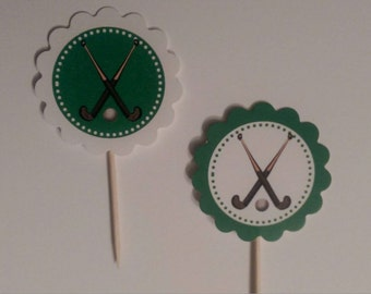 Field Hockey themed cupcake toppers