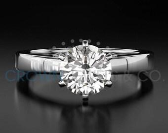 Diamond Engagement Ring Solitaire H VVS2 Round Brilliant Cut Diamond 14K White Gold Ring For Women