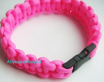 Handmade PINK 550 Paracord Survival Bracelet /wristband