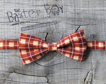 Ready-to-Ship --- SIZE SMALL Copper Fall plaid little boy bow tie - photo prop, wedding, ring bearer, accessory, pre-tied