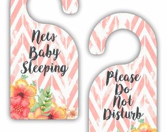 New Baby Sleeping - Please Do Not Disturb - Girls Nursery Room Double-Sided Room Door Sign Hanger