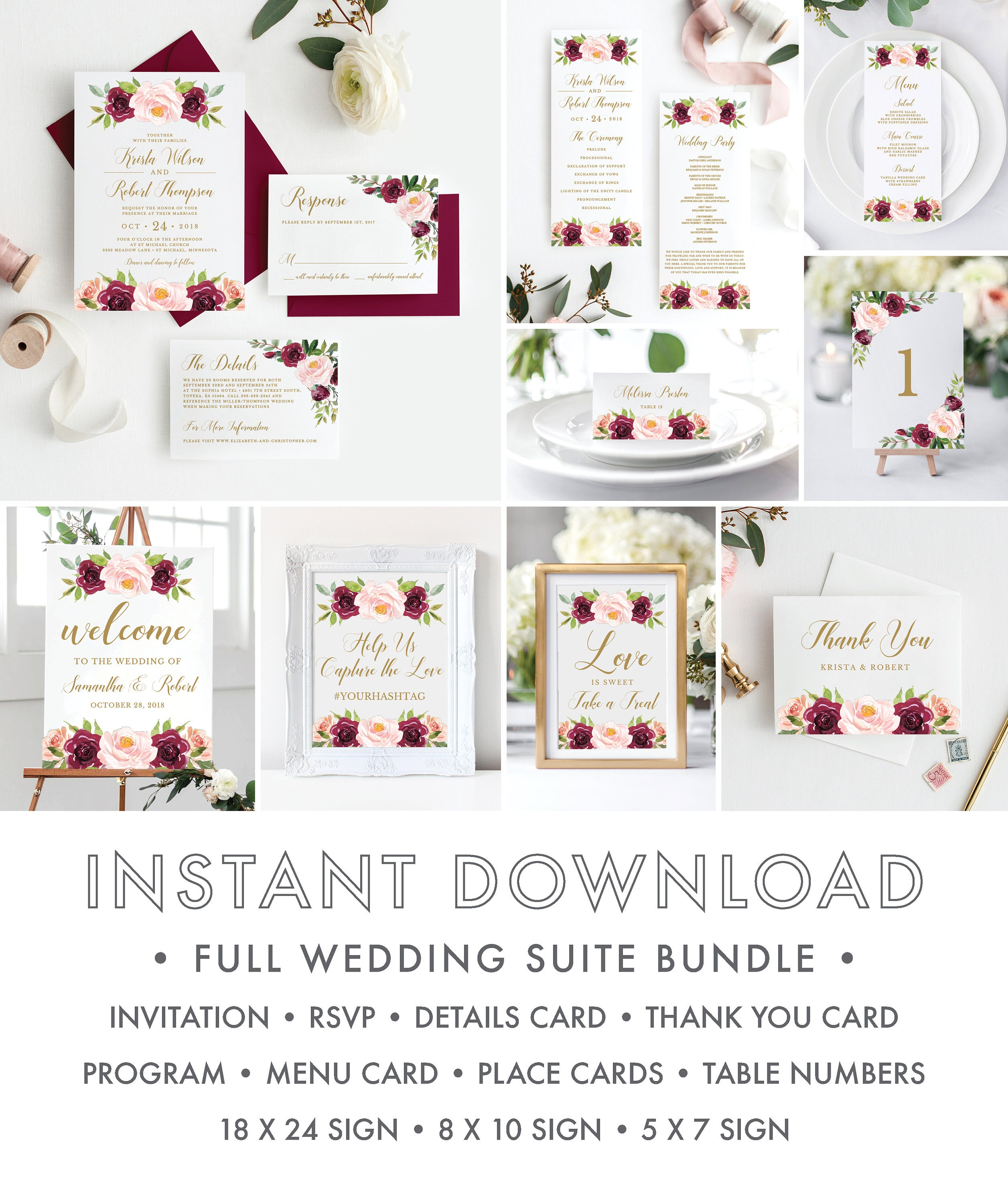 Full Wedding Suite Bundle Burgundy Rustic Floral Wedding Invitation - Wedding invitation templates: wedding invitation suite templates