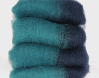 Shetland Turquoise NavySpinning Batts - 4 ounces