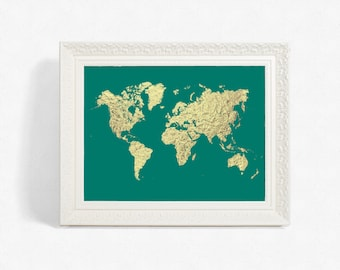 Turquoise And Gold Printable World Map Art Faux Gold Foil - A3 printable world map