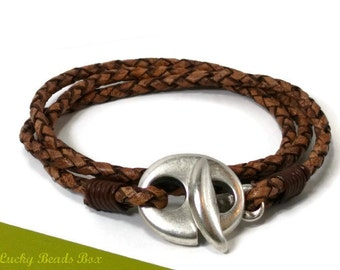Men's leather bracelet wrap bracelet men's bracelet braided leather bracelet brown leather bracelet hook clasp RLB3-03-02