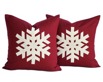 Two red linen Snowflake Christmas Pillow covers, holiday pillow, decorative pillow, cushion, Christmas decoration