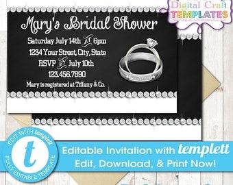 On Sale DIY Bridal Shower, Rings, Wedding Shower, Printable, Personalized Invitation, templett, #193