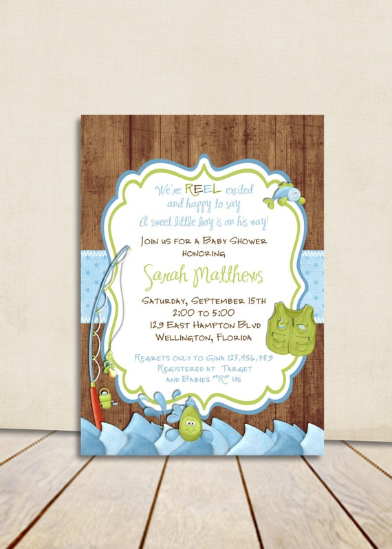 Rustic fishing baby shower invitation gone fishing fish and filmwisefo Image collections