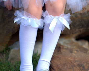 SALE 5dlls OFF Little Bunny Couture - Angelic White Lace Bunny Socks - baby girls ruffled tutu knee high socks fits 6m to 6X
