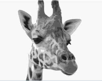 Giraffe Layered Paper Cut Portrait Template, Commercial and Personal Use