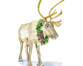 Reindeer Watercolor Painting - 11 x 14 - Giclee Print - Caribou Christmas Wall Art