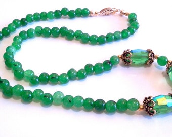 Malaysia Jade Green Stone Bead Necklace, Faceted Crystal Jewelry, Handmade Beaded Necklace, St Pattys Day Jewelry