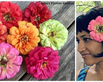 Zinnia hair flower clip, realistic zinnia, zinnia barrette, coral, pink, red, orange