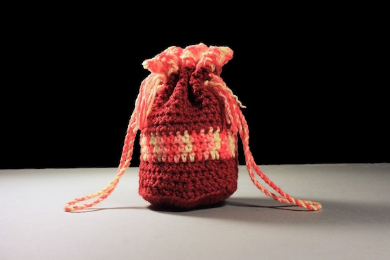 Gift Bag, Mini Tote, Wristlet, Handbag, Drawstring Bag, Boho Bag, Hippie Bag, Handmade, Crochet, Gift Idea Gift Bag