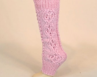 Knit Leg Warmers, Pink Slouchy Legwarmers, Knitted Gaiters Boot Cuffs, Pale Pink Dance Ballet 80s,  Yoga Socks without Feet