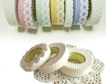 Adhesive deco fabric cotton lace tape 01 - 06 by J&Bobbin
