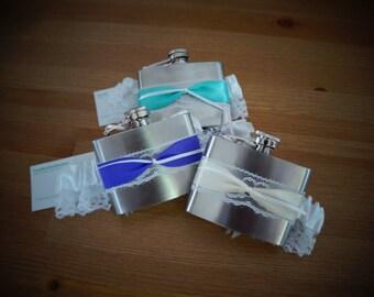 Wedding Garter Flask - Satin on Lace Ribbon
