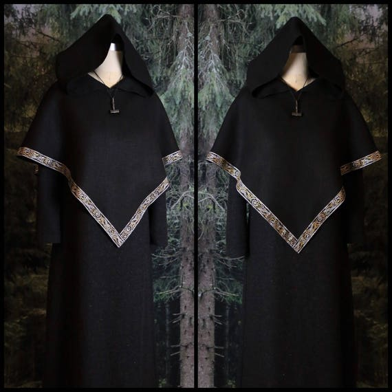 Hooded Shawl Viking Skjoldehamn Hood, Archer, Poncho, Hobbit, Historical, Garb, Norse, SCA, LARP, Witch, Reenactment, Medieval, Renaissance,