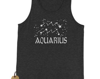 Aquarius Zodiac Star Chart Jersey Tank Top for Men