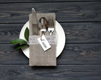 Burlap Silverware Holders, Table Decor, RusticSilverware Holders, Rustic table decor, Wedding Table Set, Burlap table decoration
