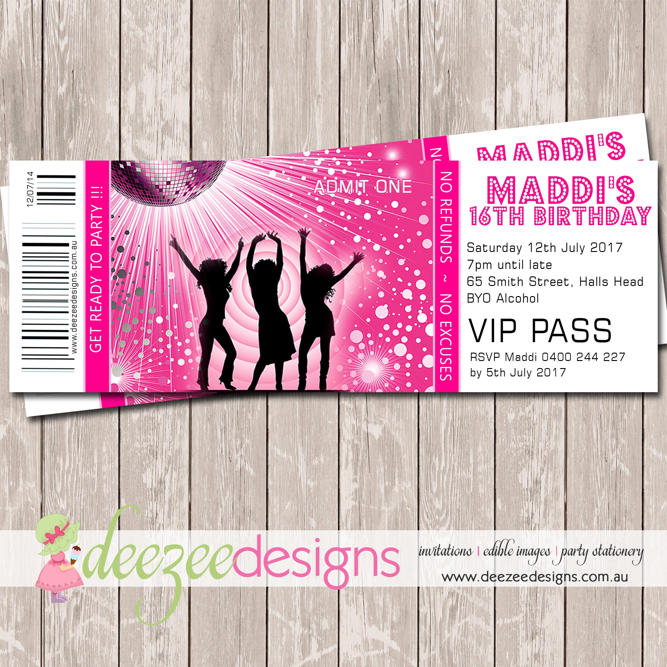 Disco Dance Ticket Style Birthday Invitation YOU PRINT