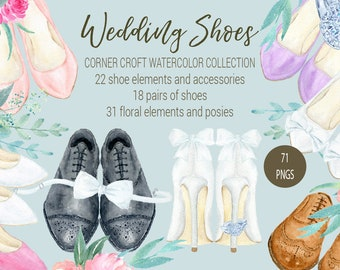 Wedding shoes clipart, watercolor wedding shoe, white, peach and pink high heel shoes for bride, black and brown shoes for groom