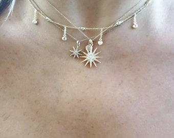 Diamond starburst , pave diamond gold or rose gold micro diamonds