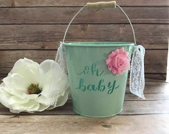 Baby shower Bucket/baby shower Decoration/ mint green Bucket