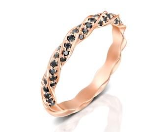 Diamond wedding bands women,Rose gold wedding band,Black diamond ring,Diamond anniversary band,Twisted wedding band,Rose gold promise ring