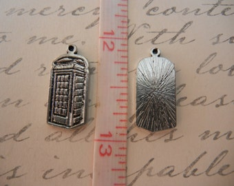 silver phone booth police box set of 4