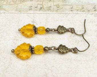 Yellow Earrings, Amber Earrings, Maple Leaf Earrings, Leaf Earrings, Yellow Leaf Earrings, Czech Glass Beads, Long Leaf Earrings, Gifts