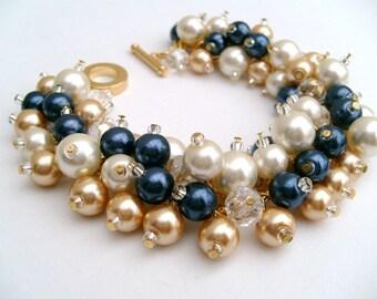 Bridal Jewelry, Wedding, Pearl Bridesmaid Bracelet, Cluster Bracelet, Navy Ivory Gold Pearl Bracelet, Ivory Pearl Jewelry, Nautical Theme