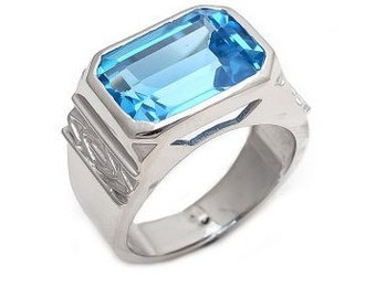 925 Sterling Silver Natural Blue Topaz Mens rings