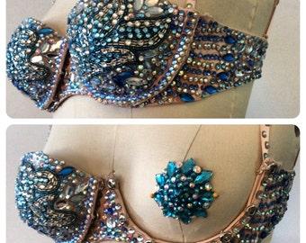 Tear away cup bra,crystal, navy  blue, aqua blue,pasties