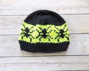 Spider Hat, Knit Baby Halloween Beanie, Knit Green Beanie, Boy's Hat