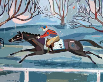 The Race, racing in winter art print