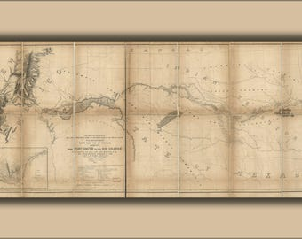 Poster, Many Sizes Available; Map Fort Smith To Rio Grande Railroad Route 1859