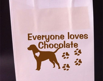 Chocolate Labrador Dog Gift Bags Favor Bags Set of 4