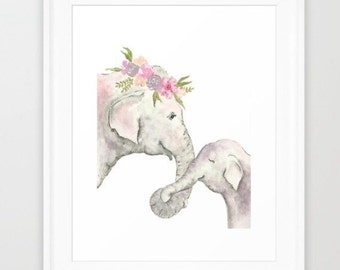 Elephant printable - Elephant nursery print - digital download - Elephant watercolor - baby elephant print