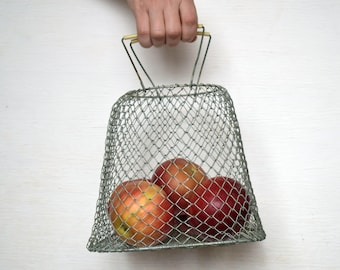 Small Collapsible metal vintage basket Wire egg basket Bag of vegetables and fruits Country house home decor